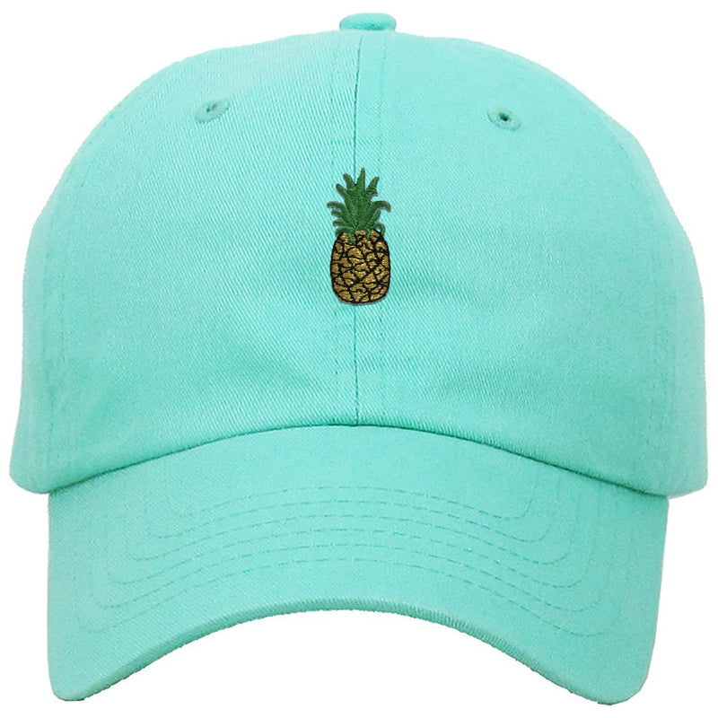 on the front of the pineapple teal foot clan dad hat, there is a pineapple teal dad hat embroidered in gold, green, and black
