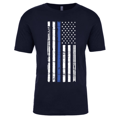 The American Flag Thin Blue Line Blue Lives Matter T-Shirt is white with a vintage looking American flag with a thin blue line printed on a black t-shirt