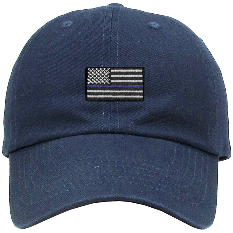 the front of the navy blue lives matter dad hat has the thin blue line police flag