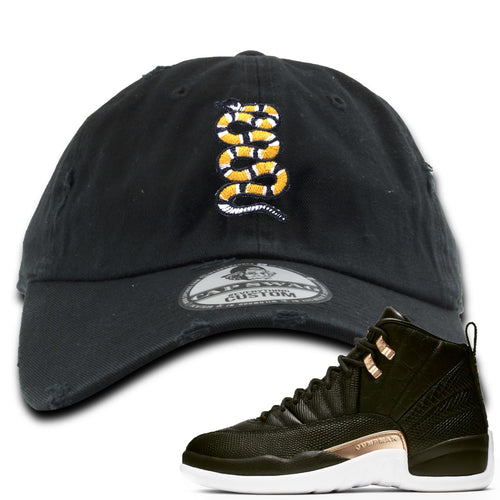 Jordan 12 WMNS Reptile Sneaker Match Coiled Snake Black Distressed Dad Hat