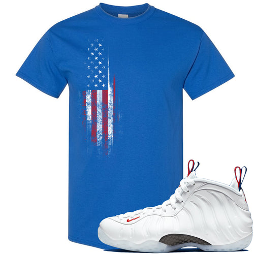 Nike WMNS Air Foamposite One USA Sneaker Match Distressed American Flag Royal Blue T-Shirt