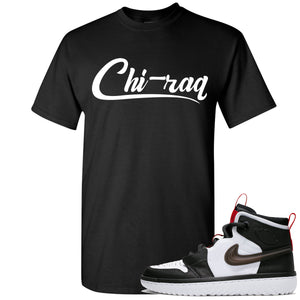 Air Jordan 1 High React White Black Sneaker Hook Up Chi-raq Black T-Shirt