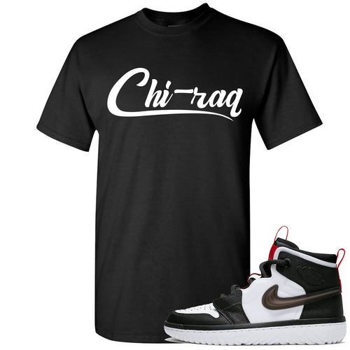 Air Jordan 1 High React White Black Sneaker Match Chi-raq Black T-Shirt