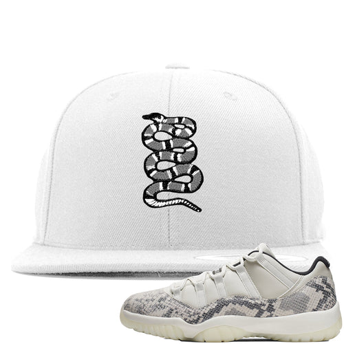 Air Jordan 11 Low Snakeskin Light Bone Sneaker Match Coiled Snake White Snapback