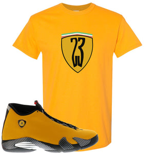 Reverse Ferrari 14s Sneaker Hook Up 23 Ferrari Logo Gold Yellow T-Shirt