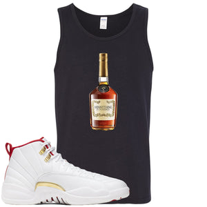 Air Jordan 12 FIBA Sneaker Hook Up Hennything is Possible Bottle Black Mens Tank Top