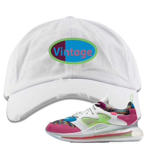 OBJ x Nike Air Max 720 Sneaker Match Vintage Logo White Distressed Dad Hat