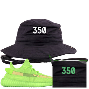 "Yeezy Boost 350 V2 Glow Sneaker Hook Up ""350"" Glow In The Dark Thread Black Bucket Hat"