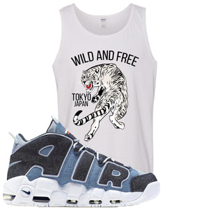 Nike Air More Uptempo Denim Sneaker Hook Up Tiger White Mens Tank Top