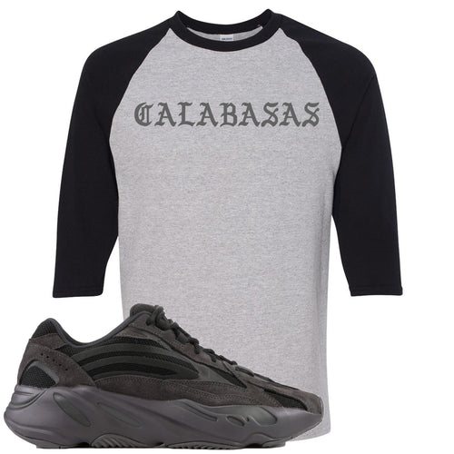 Adidas Yeezy Boost 700 v2 Vanta Sneaker Match Calabasas Sports Gray and Black Raglan T-Shirt