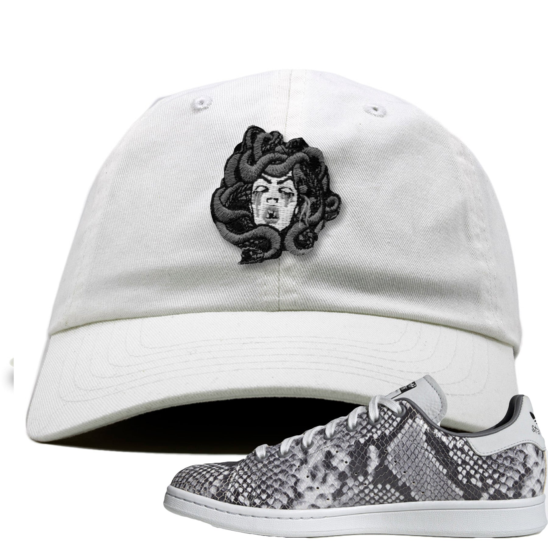 new concept f5056 bb633 Adidas Stan Smith Grey Snakeskin Sneaker Match Medusa White Dad Hat