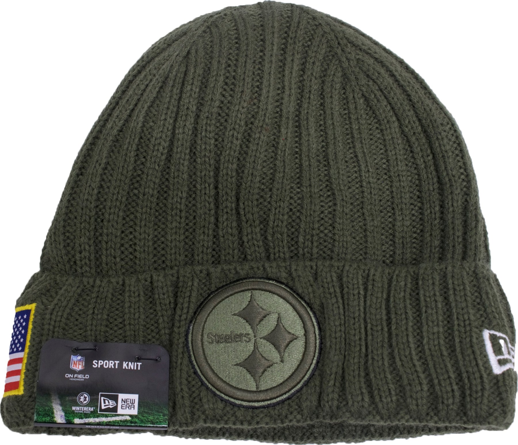 ... nfl one size knit beanie hat 5fa17 533af  coupon the pittsburgh  steelers 2017 salute to service beanie is military green has a raised cuff 4680db84b
