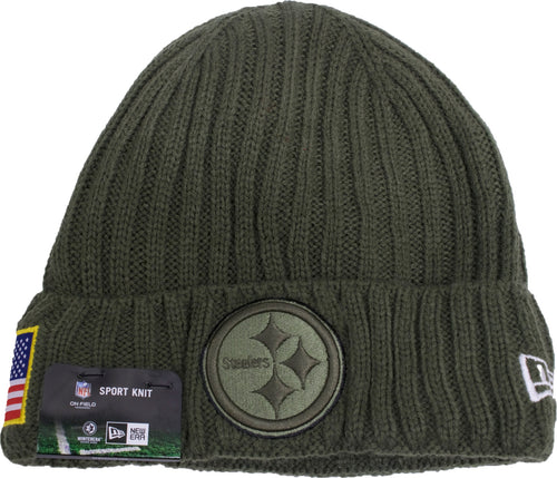 the pittsburgh steelers 2017 salute to service beanie is military green, has a raised cuff with a green steelers logo