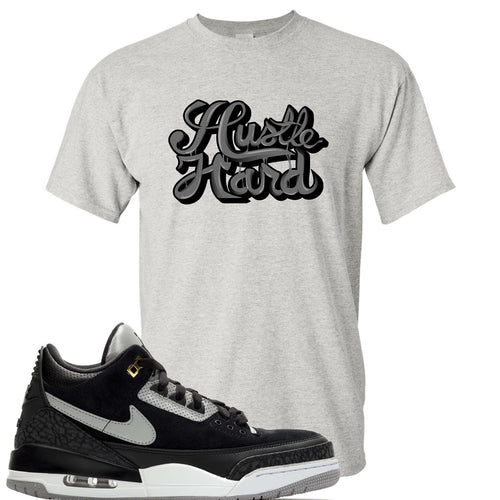 Air Jordan 3 Tinker Black Cement Sneaker Match Hustle Hard Sports Grey T-Shirt