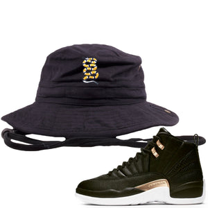 Jordan 12 WMNS Reptile Sneaker Hook Up Coiled Snake Black Bucket Hat