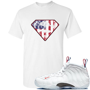 Nike WMNS Air Foamposite One USA Sneaker Hook Up Distressed Super Logo White T-Shirt