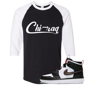 Air Jordan 1 High React White Black Sneaker Hook Up Chi-raq Black Raglan T-Shirt