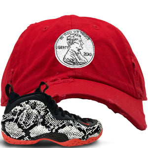 Foamposite One Snakeskin Sneaker Hook Up Penny Red Distressed Dad Hat