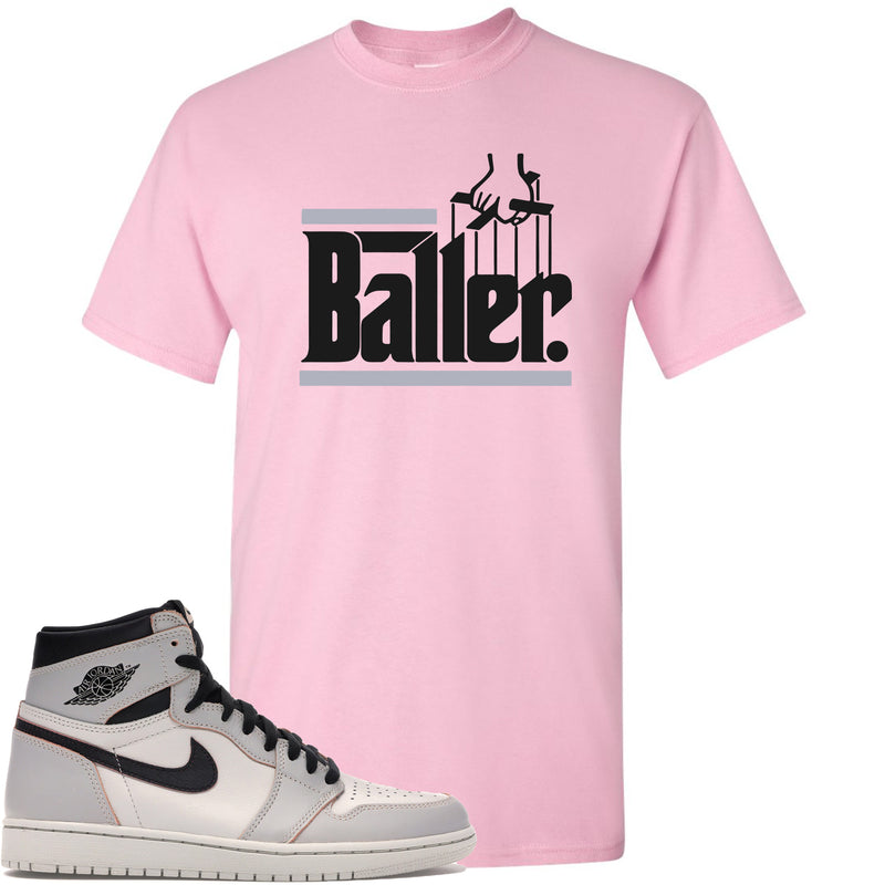 Nike SB x Air Jordan 1 Retro High OG Light Bone Sneaker Match Baller Pink T-Shirt