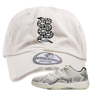 Air Jordan 11 Low Snakeskin Light Bone Sneaker Hook Up Coiled Snake Stone Distressed Dad Hat