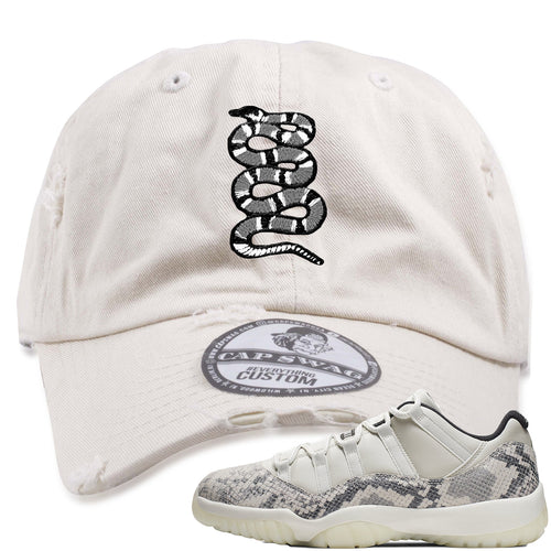 Air Jordan 11 Low Snakeskin Light Bone Sneaker Match Coiled Snake Stone Distressed Dad Hat