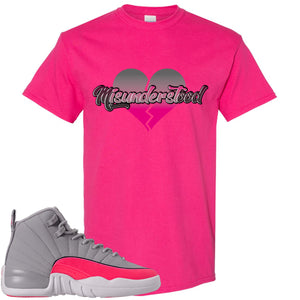 Air Jordan 12 GS Grey Pink Sneaker Hook Up Misunderstood Heliconia T-Shirt