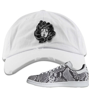 Adidas Stan Smith Grey Snakeskin Sneaker Hook Up Medusa White Distressed Dad Hat