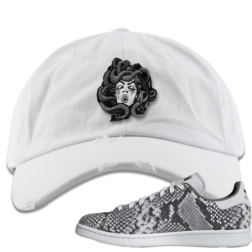 Adidas Stan Smith Grey Snakeskin Sneaker Match Medusa White Distressed Dad Hat