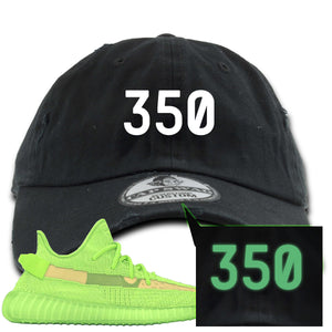 "Yeezy Boost 350 V2 Glow Sneaker Hook Up ""350"" Glow In The Dark Thread Black Distressed Dad Hat"