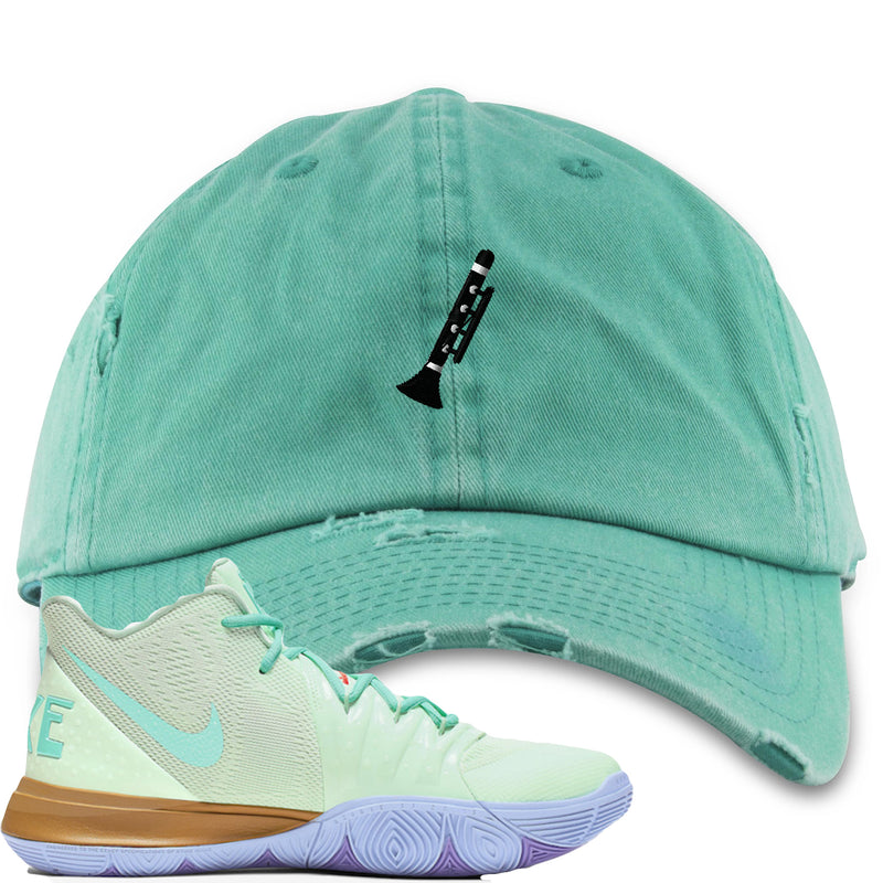 Nike Kyrie 5 Squidward Sneaker Hook Up Clarinet Turquoise Distressed Dad Hat