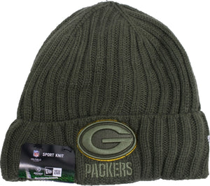 on the front of the green bay salute to service beanie is the packers logo embroidered in green