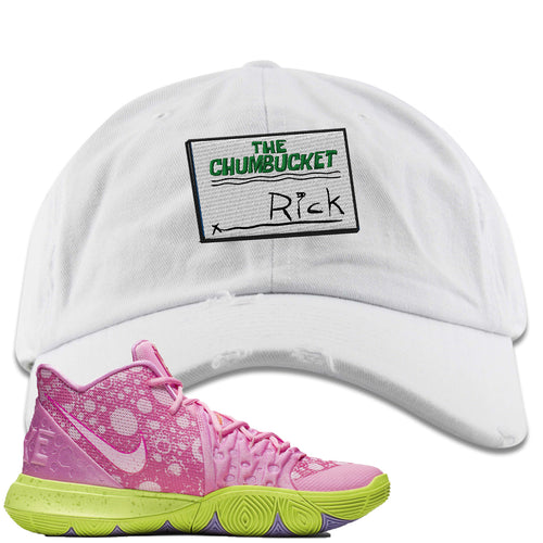Spongebob Squarepants x Nike Kyrie 5 Patrick Star Sneaker Match Rick White Distressed Dad Hat