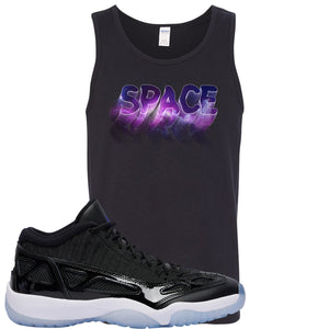 Air Jordan 11 Low IE Space Jam Sneaker Hook Up Space Black Mens Tank Top