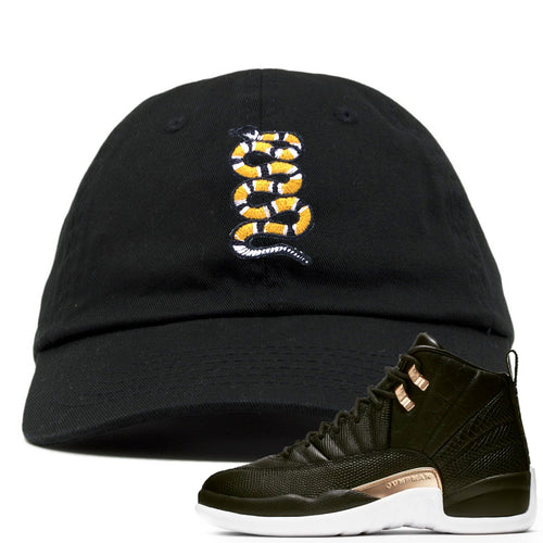 Jordan 12 WMNS Reptile Sneaker Match Coiled Snake Black Dad Hat
