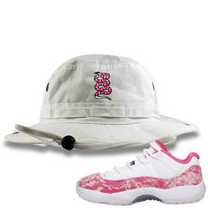 Air Jordan 11 Low WMNS Pink Snakeskin Sneaker Hook Up Coiled Snake White Bucket Hat