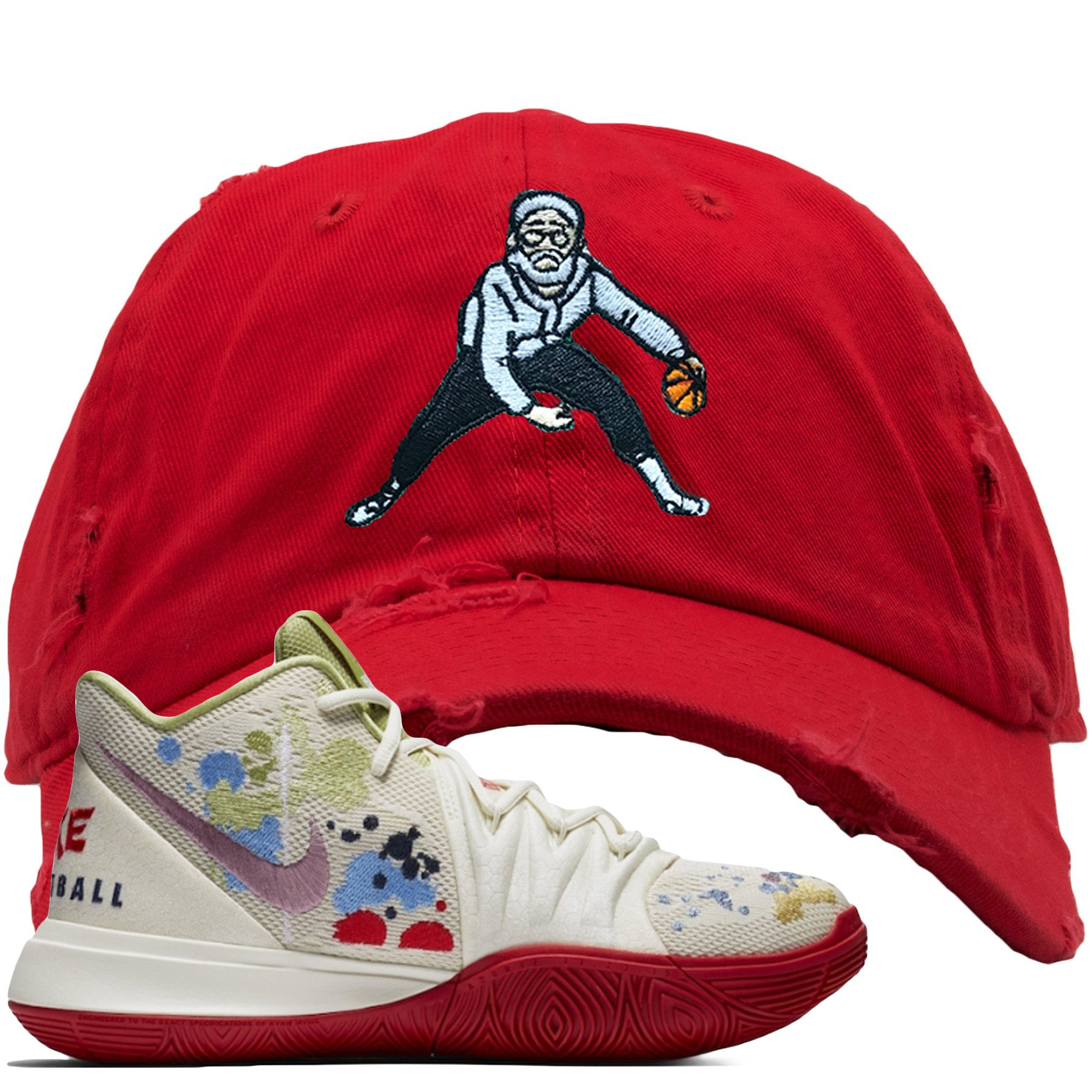 759b8cf35 Bandulu x Nike Kyrie 5 Sneaker Match Uncle Drew Red Distressed Dad Hat