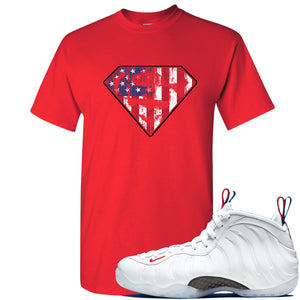 Nike WMNS Air Foamposite One USA Sneaker Hook Up Distressed Super Logo Red T-Shirt