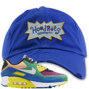 Nike Air Max 90 Viotech 2.0 Sneaker Hook Up Hoodrats Blue Distressed Dad Hat