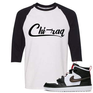 Air Jordan 1 High React White Black Sneaker Hook Up Chi-raq White Raglan T-Shirt