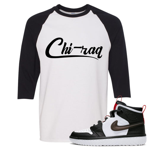 Air Jordan 1 High React White Black Sneaker Match Chi-raq White Raglan T-Shirt