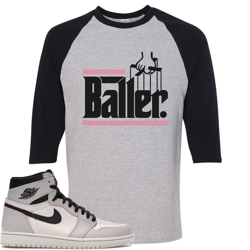 Nike SB x Air Jordan 1 Retro High OG Light Bone Sneaker Match Baller Sports Grey and Black Raglan T-Shirt