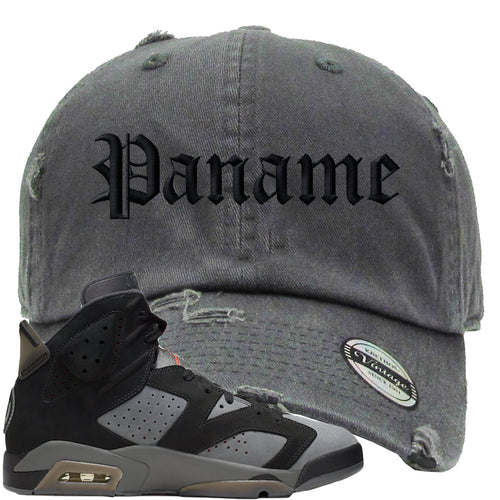 Air Jordan 6 PSG Sneaker Match Paname Dark Gray Distressed Dad Hat
