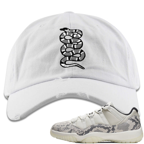 Air Jordan 11 Low Snakeskin Light Bone Sneaker Match Coiled Snake White Distressed Dad Hat
