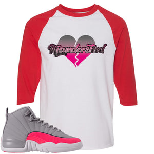 Air Jordan 12 GS Grey Pink Sneaker Hook Up Misunderstood White and Red Raglan T-Shirt