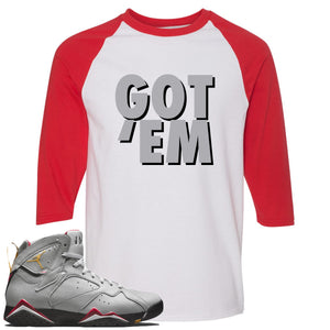 Air Jordan 7 Reflections of a Champion Sneaker Hook Up Got Em White and Red Raglan T-Shirt