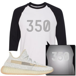 Adidas Yeezy Boost 350 v2 Lundmark Reflective Sneaker Hook Up 350 White and Black Raglan T-Shirt