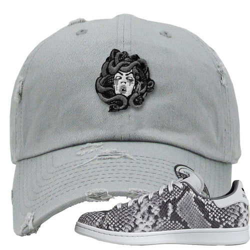 Adidas Stan Smith Grey Snakeskin Sneaker Match Medusa Light Grey Distressed Dad Hat