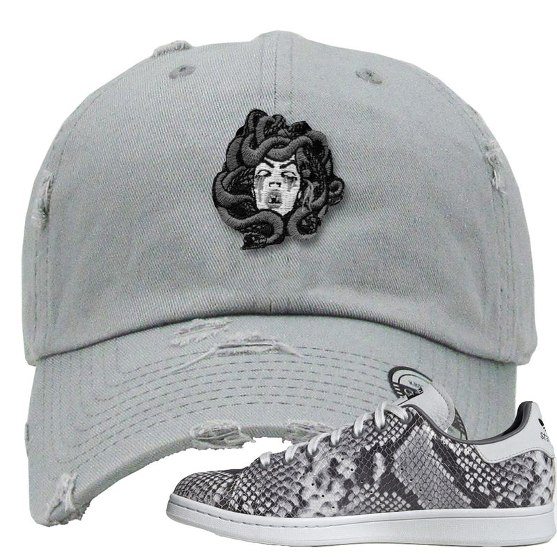 Adidas Stan Smith Grey Snakeskin Sneaker Hook Up Medusa Light Grey Distressed Dad Hat