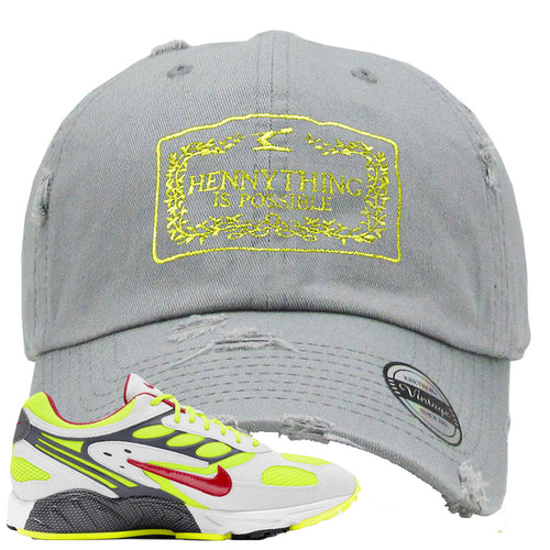 Nike Air Ghost Racer Neon Yellow Sneaker Match Hennything is Possible Light Gray Distressed Dad Hat