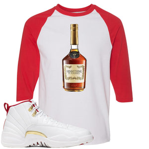 Air Jordan 12 FIBA Sneaker Hook Up Hennything is Possible Bottle White and Red Raglan T-Shirt